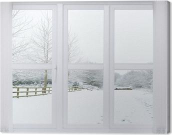 Tableau sur toile Snow Scene fenêtre