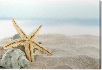 Tableau sur toile Starfish on the beach