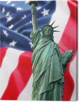 Tableau sur toile Statue de la Liberté New York contre un drapeau des Etats-Unis