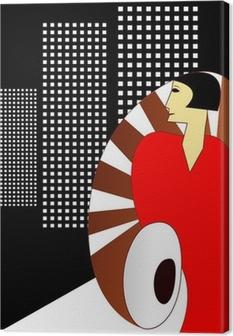 Tableau sur toile Style Art Déco affiche, avec une élégante femme 1930