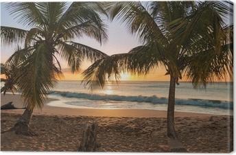 Tableau sur toile Sunset Beach palmiers vagues