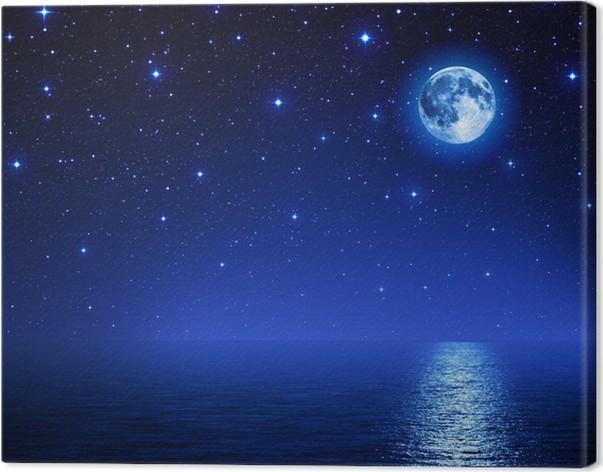 tableau sur toile superbe lune dans le ciel toil sur mer pixers nous vivons pour changer. Black Bedroom Furniture Sets. Home Design Ideas