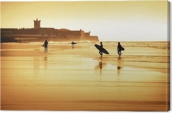 Tableau sur toile Surfers silhouettes