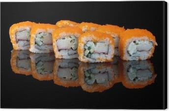 Tableau sur toile Sushi avec le vol des œufs de poisson