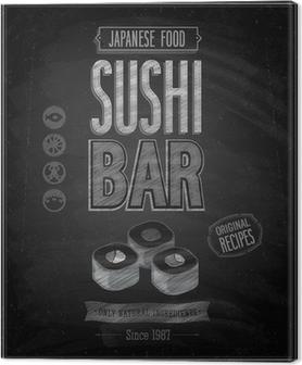 Tableau sur toile Sushi Bar affiche de cru - tableau. Vector illustration.