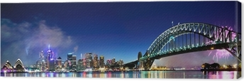 Tableau sur toile Sydney Harbour NYE Fireworks Panorama