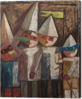 Tableau sur toile Tadeusz Makowski - Carnaval des enfants avec un drapeau