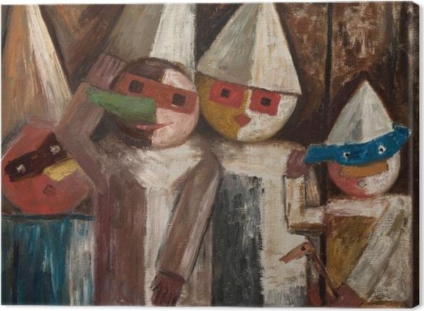 Tableau sur toile Tadeusz Makowski - Carnaval des enfants avec un drapeau - Reproductions