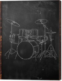 Tableau sur toile Tambour Chalk Croquis sur le tableau noir