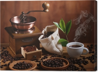 Tableau sur toile Tasse de café moulin à café en bois