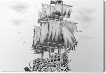 Tableau sur toile Tatouage oeuvre bateau pirate vaisseau fantôme