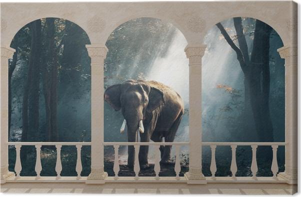 Tableau éléphant foret 2 tableaux sur toile terrasse elephant dans la foret