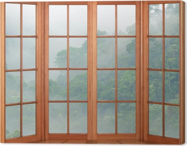 Tableau sur toile Terrasse - Rainforests - La vue à travers la fenêtre