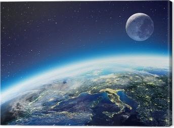 Tableau sur toile Terre et de la Lune vue depuis l'espace la nuit - Europe