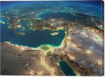 Tableau sur toile Terre nuit. Afrique et Moyen-Orient