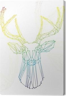 Tableau sur toile Tête d'arc cerf sur fond blanc