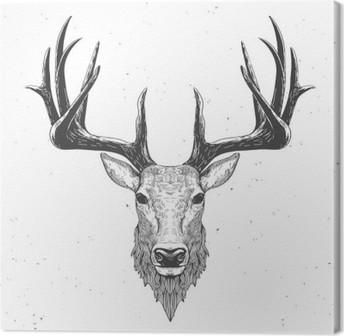 Tableau sur toile Tête de cerf sur blanc