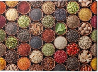 Tableau sur toile Texture homogène avec des épices et des herbes