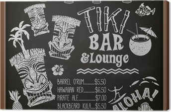Tableau sur toile Tiki Bar and Lounge Tableau Cocktail Menu