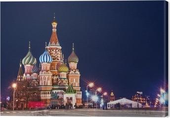 Tableau sur toile Tir cathédrale Nuit de Saint-Basile de Moscou