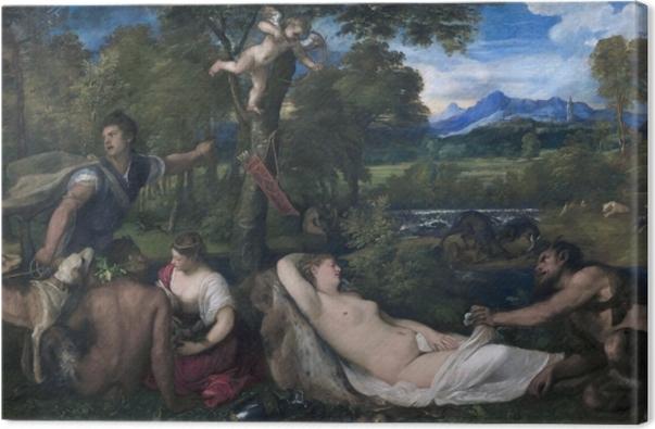 Tableau sur toile Titien - Jupiter et Antiope - Reproductions