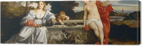 Tableau sur toile Titien - L'Amour sacré et l'Amour profane - Reproductions