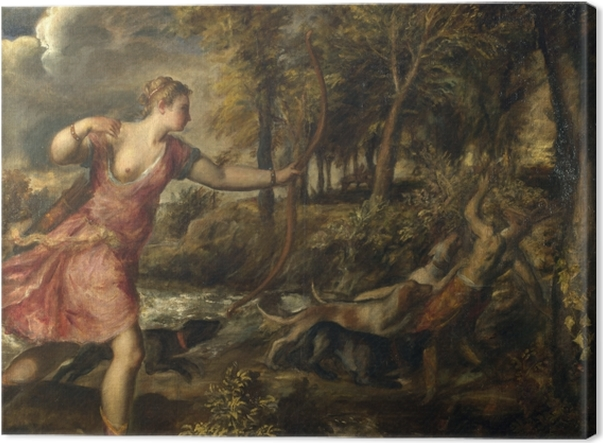 Tableau sur toile Titien - La mort d'Actéon - Reproductions