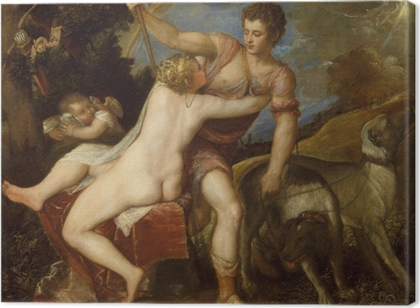 Tableau sur toile Titien - Vénus et Adonis - Reproductions