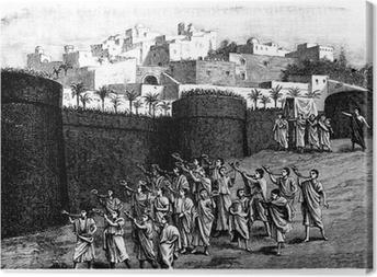 Tableau sur toile Tomber les murs de Jéricho - scène biblique