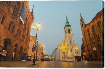 Tableau sur toile Tôt le matin, dans la vieille ville de Torun, Pologne. l'hôtel de ville
