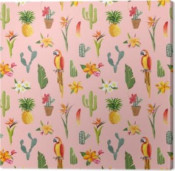Tableau sur toile Toucan Parrot. Tropical Contexte Fleurs. Seamless Retro