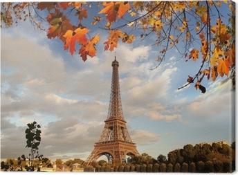 Tableau sur toile Tour Eiffel avec des feuilles d'automne à Paris, France