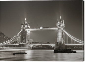 Tableau sur toile Tower Bridge de nuit en noir et blanc
