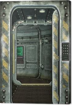 Tableau sur toile Trappe de vaisseau spatial et fond corridor