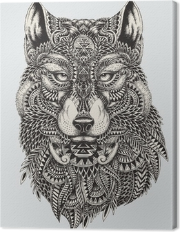 Tableau sur toile Très résumé détaillé loup illustration