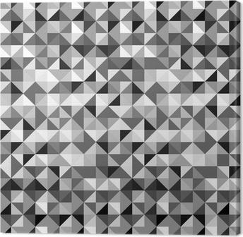 Tableau sur toile Triangles géométriques en noir et blanc, seamless,