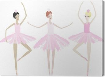 Tableau sur toile Trois danse gracieuse des ballerines dans des robes identiques