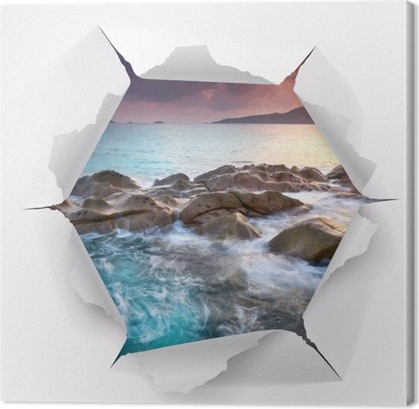 Tableau sur toile Trou dans le mur - Coucher de soleil - Les trous dans le mur