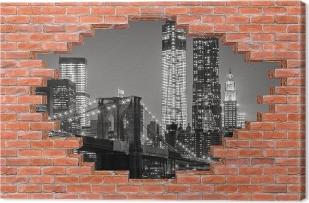 tableau sur toile trou dans le mur de new york la nuit. Black Bedroom Furniture Sets. Home Design Ideas