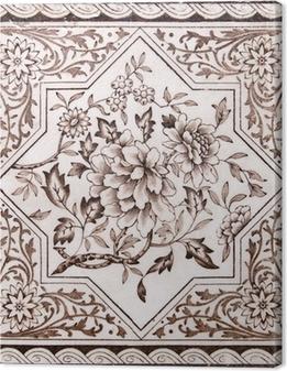 Tableau sur toile Tuile période victorienne arts décoratifs imprimé en ton sépia