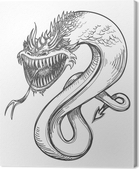 tableau sur toile un dessin dragon f roce crayon pixers nous vivons pour changer. Black Bedroom Furniture Sets. Home Design Ideas