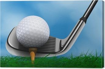 Tableau sur toile Une balle de golf et le club en face de l'herbe