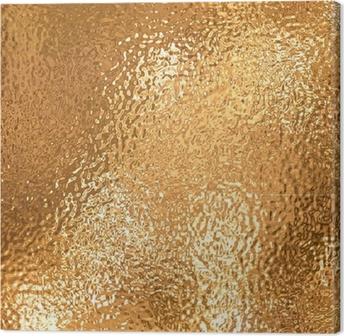 Tableau sur toile Une très grande feuille de beau papier d'aluminium froissé or