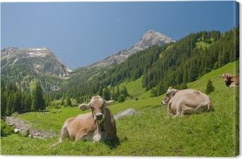 Tableau sur toile Vaches heureuses