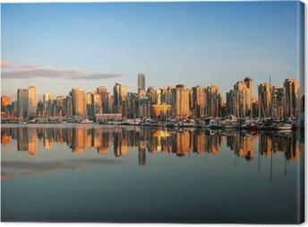 Tableau sur toile Vancouver skyline au coucher du soleil