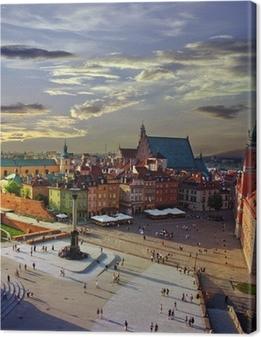 Tableau sur toile Varsovie place du château et le coucher du soleil