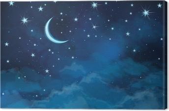 Tableau sur toile Vecteur ciel de nuit étoiles d'arrière-plan et de la lune.