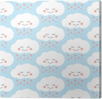 Tableau sur toile Vecteur de modèle mignon bébé nuage sans soudure. enfants impriment avec des nuages et des coeurs de pluie sur fond lila. conception pour la carte d'anniversaire d'enfants, le papier peint ou le tissu, modèle d'invitation de douche de bébé.
