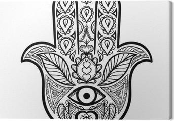 Tableau sur toile Vecteur Zentangle Hamsa main pour adultes anti-stress pages à colorier