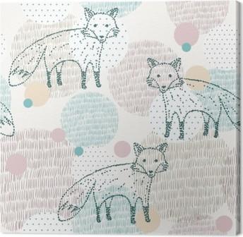 Tableau sur toile Vector dessinée motif géométrique transparente avec le renard